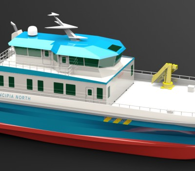 25 m Catamaran CTV 3D render 4