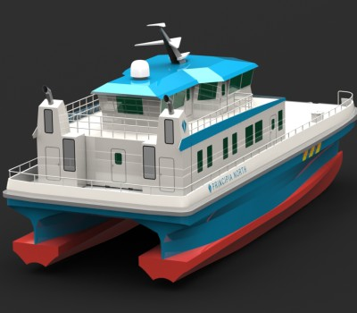 25 m Catamaran CTV 3D render 5